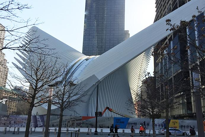 "World Trade Center transportation hub, dubbed ""oculus"", opens to public"